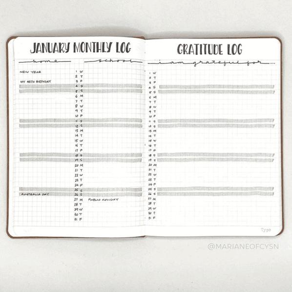 Gratitude Log Bullet Journal